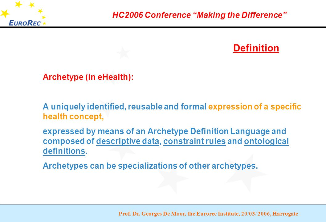 """Prof. Dr. Georges De Moor, the Eurorec Institute, 20/03/ 2006, Harrogate HC2006 Conference """"Making the Difference"""" Definition Archetype (in eHealth):"""