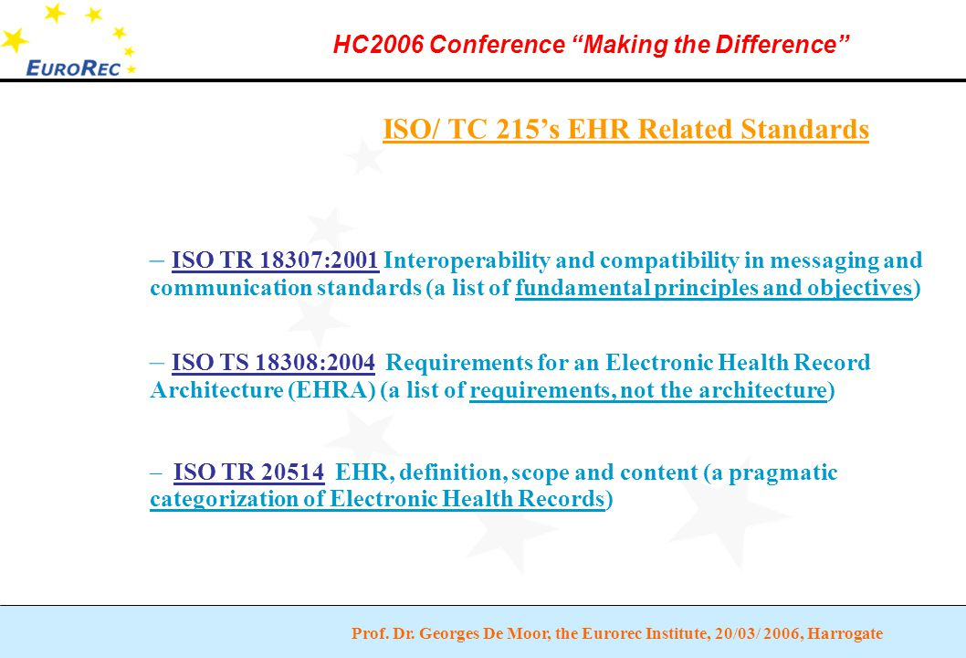 """Prof. Dr. Georges De Moor, the Eurorec Institute, 20/03/ 2006, Harrogate HC2006 Conference """"Making the Difference"""" ISO/ TC 215's EHR Related Standards"""