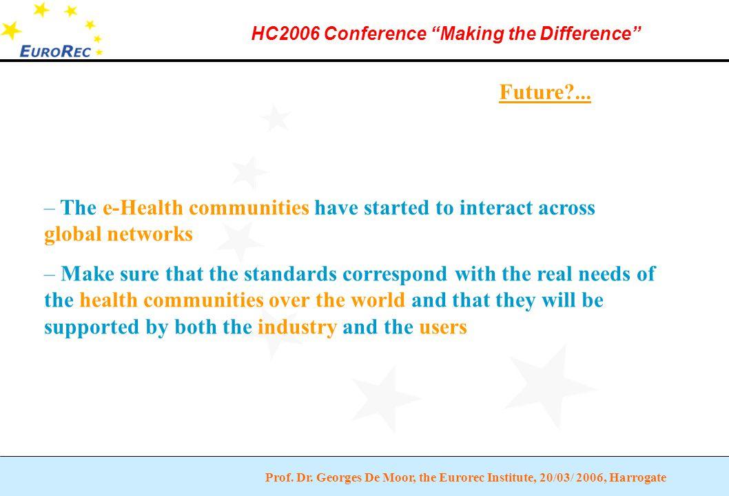 "Prof. Dr. Georges De Moor, the Eurorec Institute, 20/03/ 2006, Harrogate HC2006 Conference ""Making the Difference"" Future?... – The e-Health communiti"