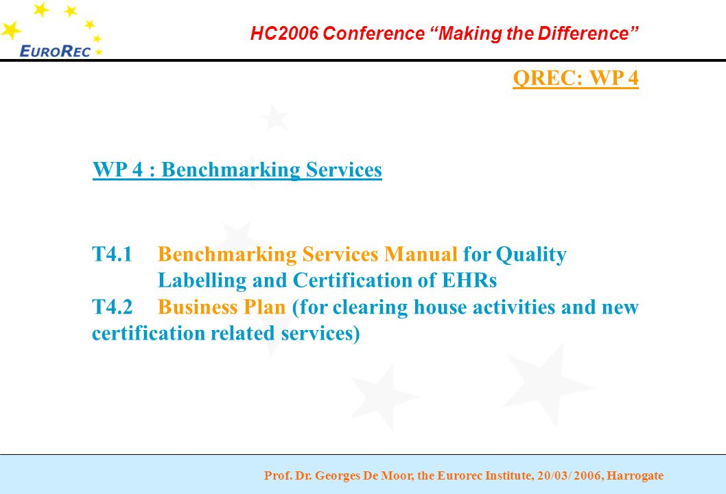 """Prof. Dr. Georges De Moor, the Eurorec Institute, 20/03/ 2006, Harrogate HC2006 Conference """"Making the Difference"""" QREC: WP 4 WP 4 : Benchmarking Serv"""