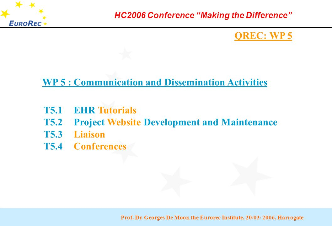 """Prof. Dr. Georges De Moor, the Eurorec Institute, 20/03/ 2006, Harrogate HC2006 Conference """"Making the Difference"""" QREC: WP 5 WP 5 : Communication and"""