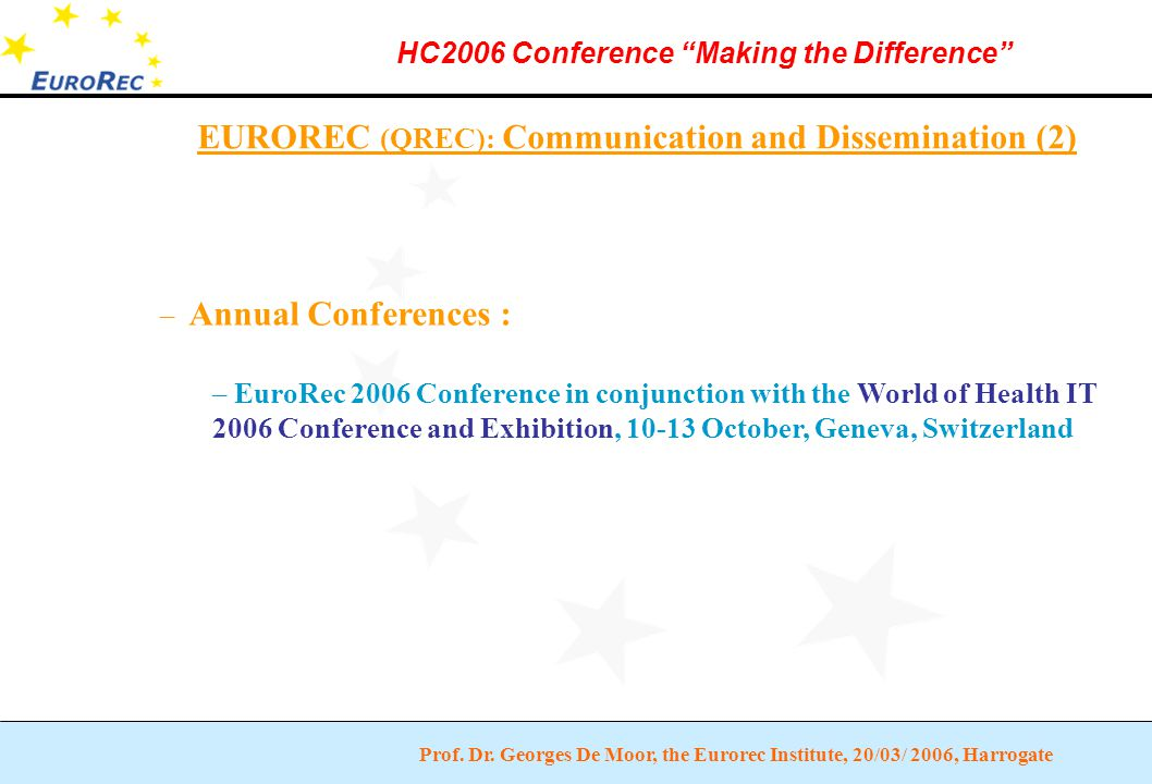 """Prof. Dr. Georges De Moor, the Eurorec Institute, 20/03/ 2006, Harrogate HC2006 Conference """"Making the Difference"""" EUROREC (QREC): Communication and D"""