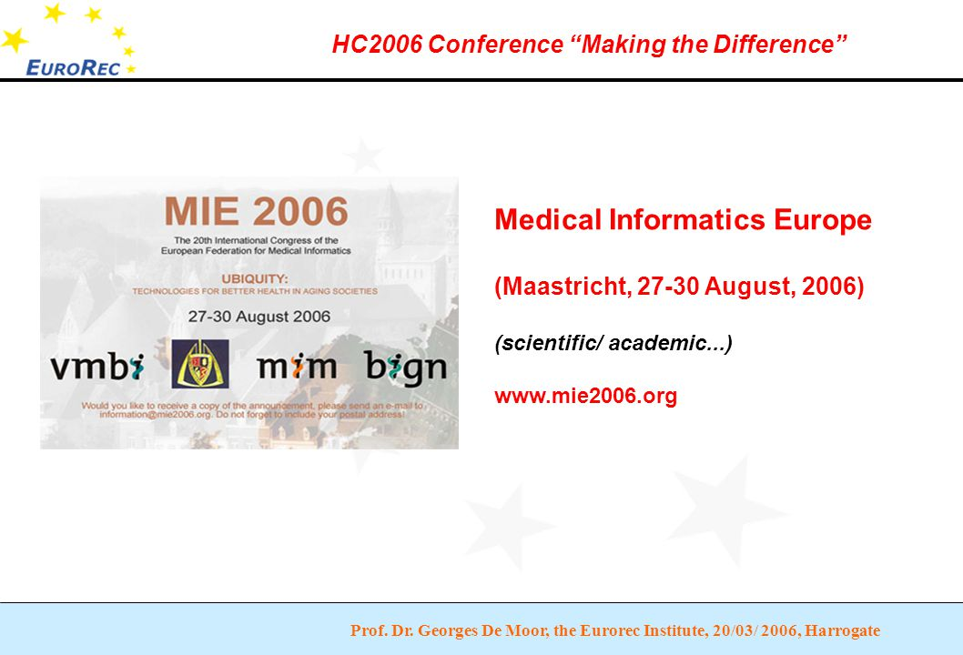 """Prof. Dr. Georges De Moor, the Eurorec Institute, 20/03/ 2006, Harrogate HC2006 Conference """"Making the Difference"""" Medical Informatics Europe (Maastri"""