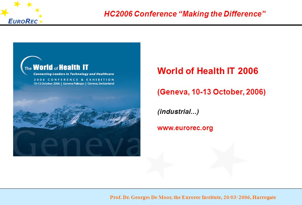 """Prof. Dr. Georges De Moor, the Eurorec Institute, 20/03/ 2006, Harrogate HC2006 Conference """"Making the Difference"""" World of Health IT 2006 (Geneva, 10"""