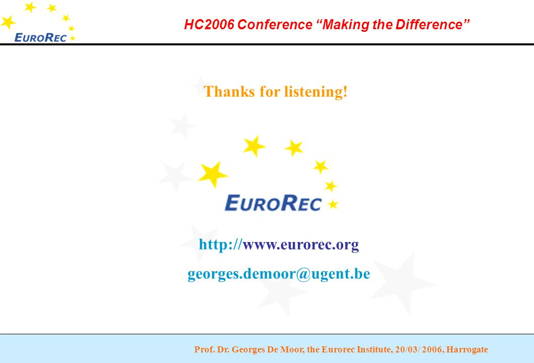 """Prof. Dr. Georges De Moor, the Eurorec Institute, 20/03/ 2006, Harrogate HC2006 Conference """"Making the Difference"""" Thanks for listening! http://www.eu"""