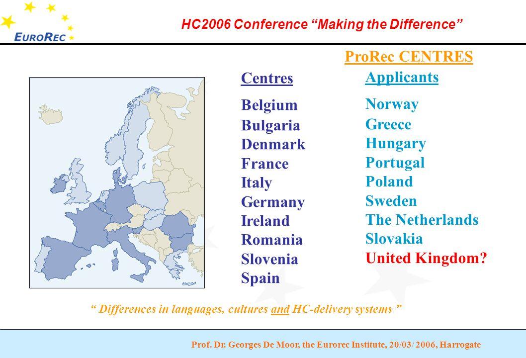 "Prof. Dr. Georges De Moor, the Eurorec Institute, 20/03/ 2006, Harrogate HC2006 Conference ""Making the Difference"" ProRec CENTRES Centres Belgium Bulg"