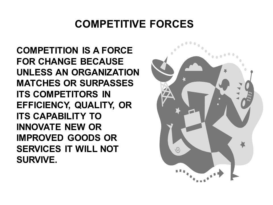 COMPETITIVE FORCES COMPETITION IS A FORCE FOR CHANGE BECAUSE UNLESS AN ORGANIZATION MATCHES OR SURPASSES ITS COMPETITORS IN EFFICIENCY, QUALITY, OR ITS CAPABILITY TO INNOVATE NEW OR IMPROVED GOODS OR SERVICES IT WILL NOT SURVIVE.