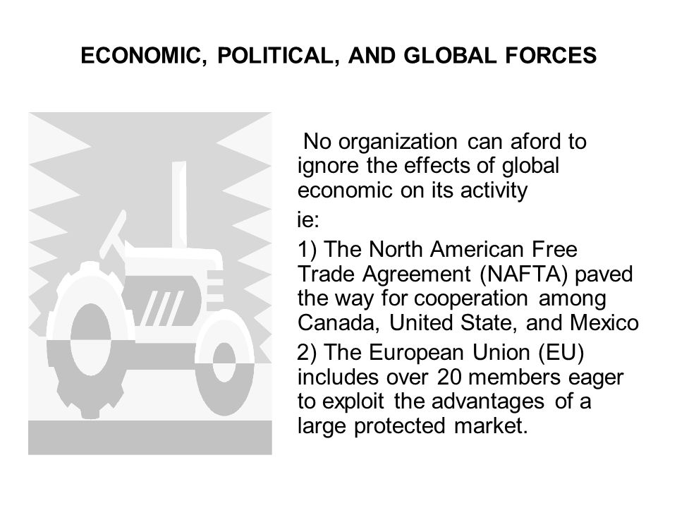 ECONOMIC, POLITICAL, AND GLOBAL FORCES No organization can aford to ignore the effects of global economic on its activity ie: 1) The North American Fr