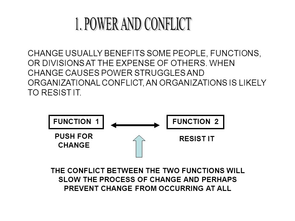 CHANGE USUALLY BENEFITS SOME PEOPLE, FUNCTIONS, OR DIVISIONS AT THE EXPENSE OF OTHERS. WHEN CHANGE CAUSES POWER STRUGGLES AND ORGANIZATIONAL CONFLICT,