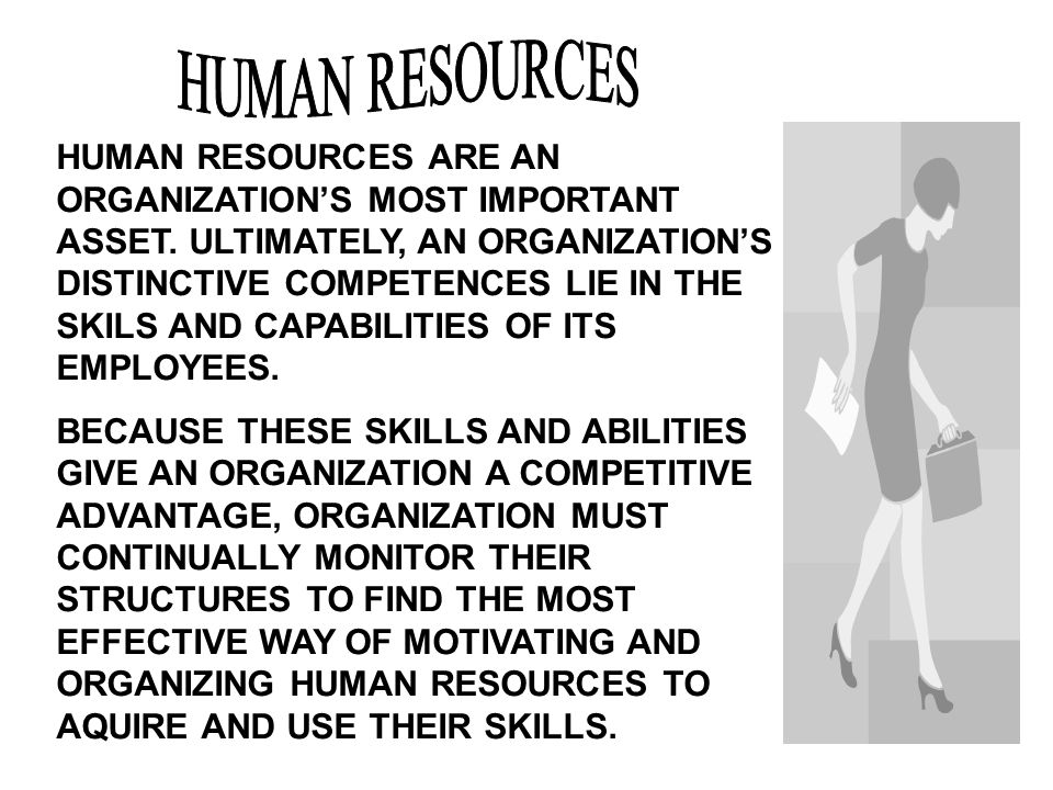 HUMAN RESOURCES ARE AN ORGANIZATION'S MOST IMPORTANT ASSET.
