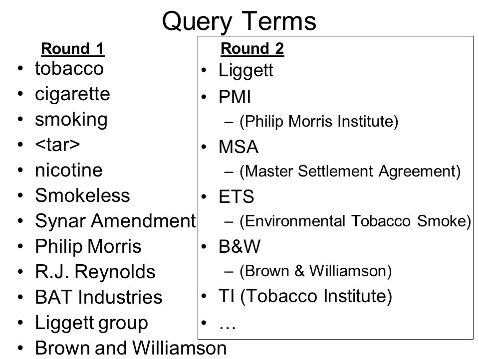 Query Terms tobacco cigarette smoking nicotine Smokeless Synar Amendment Philip Morris R.J.