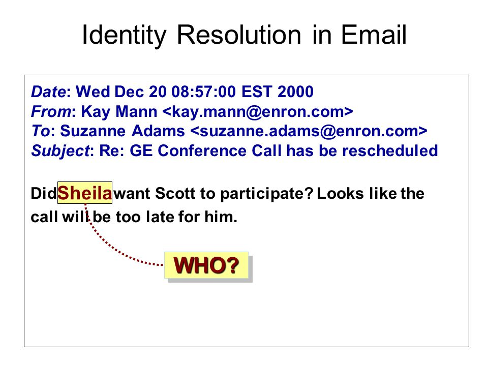 Date: Wed Dec 20 08:57:00 EST 2000 From: Kay Mann To: Suzanne Adams Subject: Re: GE Conference Call has be rescheduled Did Sheila want Scott to participate.
