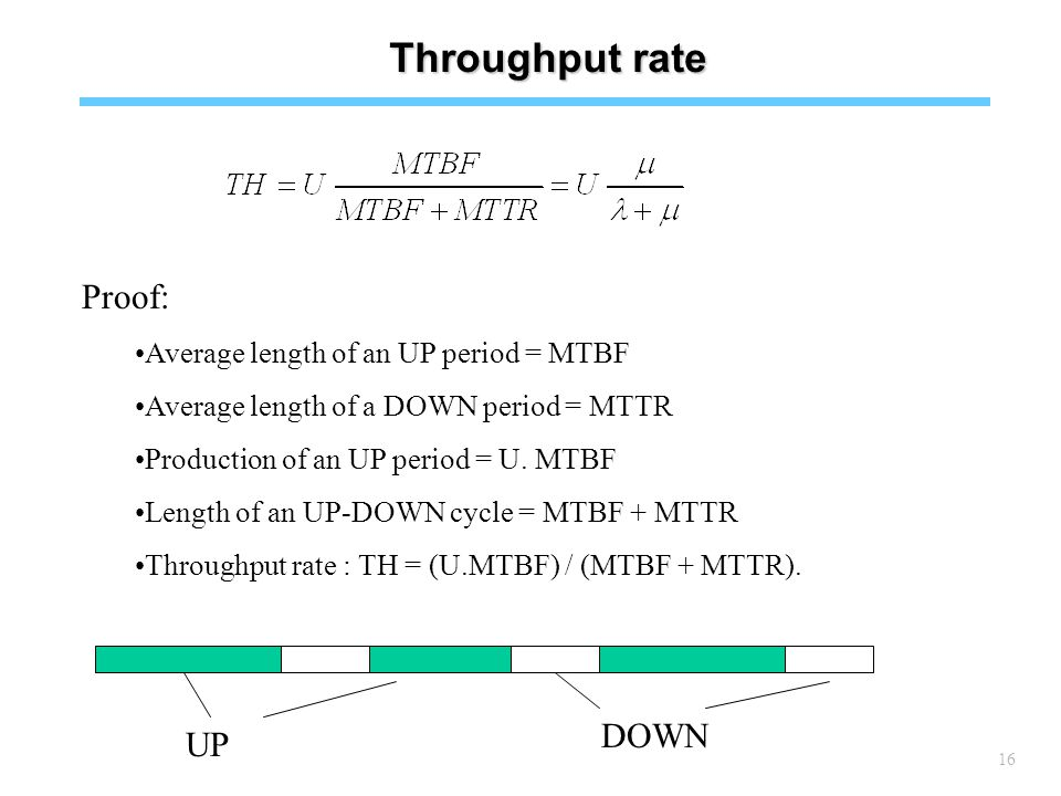 16 Throughput rate Proof: Average length of an UP period = MTBF Average length of a DOWN period = MTTR Production of an UP period = U.