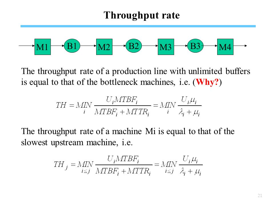 21 Throughput rate The throughput rate of a production line with unlimited buffers is equal to that of the bottleneck machines, i.e.