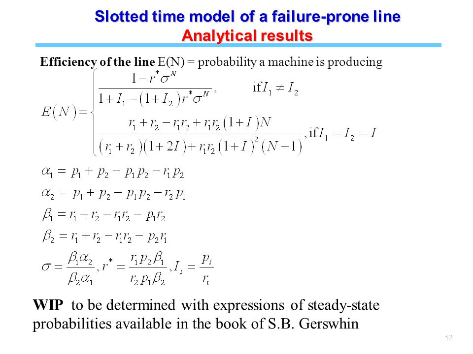 52 Efficiency of the line E(N) = probability a machine is producing Slotted time model of a failure-prone line Analytical results WIP to be determined with expressions of steady-state probabilities available in the book of S.B.