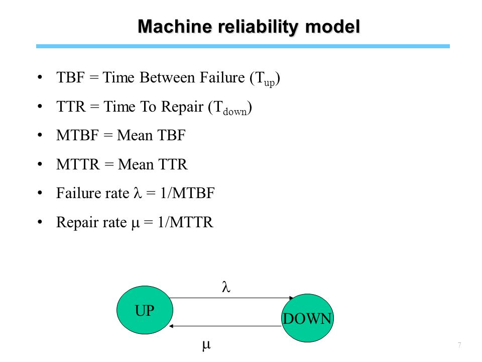 7 Machine reliability model TBF = Time Between Failure (T up ) TTR = Time To Repair (T down ) MTBF = Mean TBF MTTR = Mean TTR Failure rate = 1/MTBF Repair rate  = 1/MTTR UP DOWN 