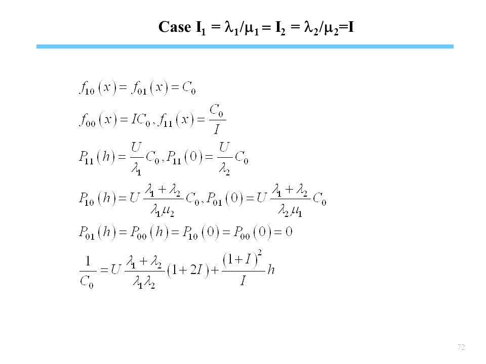 72 Case I 1 = 1 /  1  I 2 = 2 /  2 =I