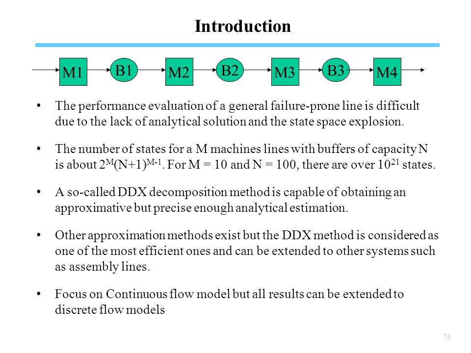 74 Introduction The performance evaluation of a general failure-prone line is difficult due to the lack of analytical solution and the state space explosion.