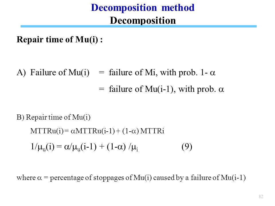 82 Repair time of Mu(i) : A)Failure of Mu(i) = failure of Mi, with prob.