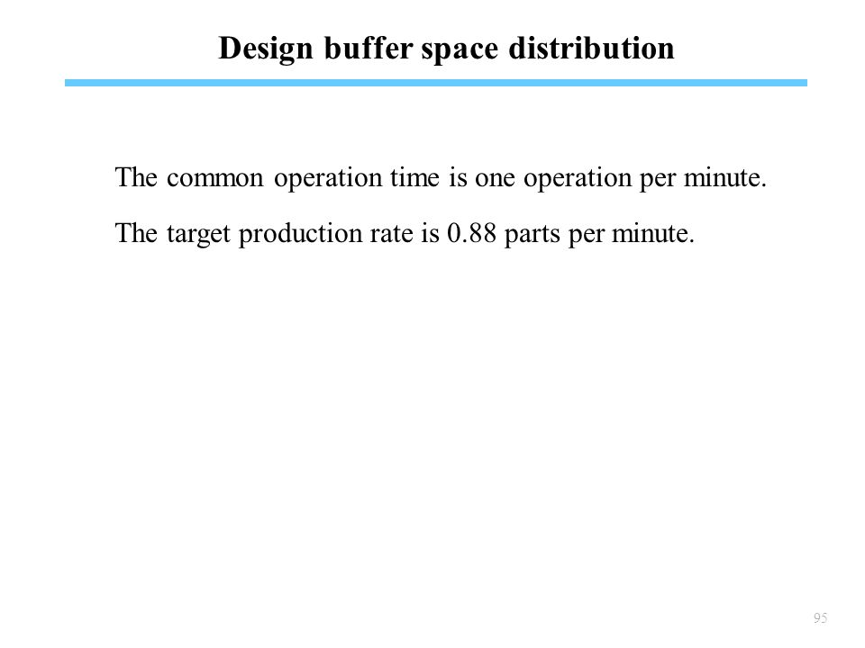 95 Design buffer space distribution The common operation time is one operation per minute.