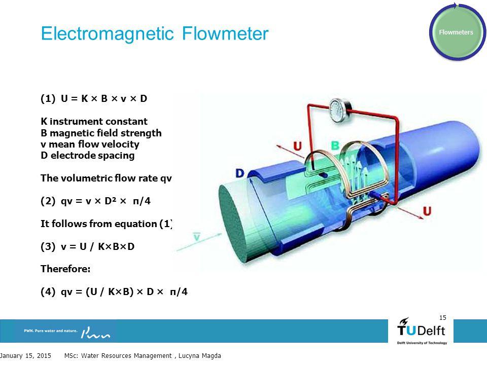 15 Electromagnetic Flowmeter (1) U = K × B × v × D K instrument constant B magnetic field strength v mean flow velocity D electrode spacing The volume