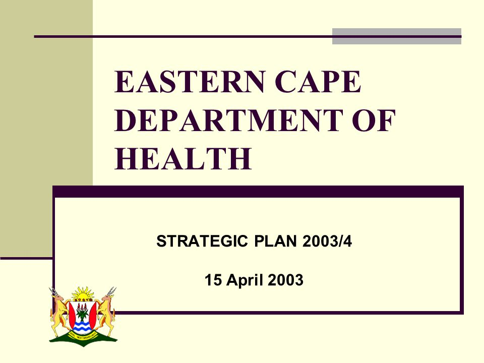 EASTERN CAPE DEPARTMENT OF HEALTH STRATEGIC PLAN 2003/4 15 April 2003