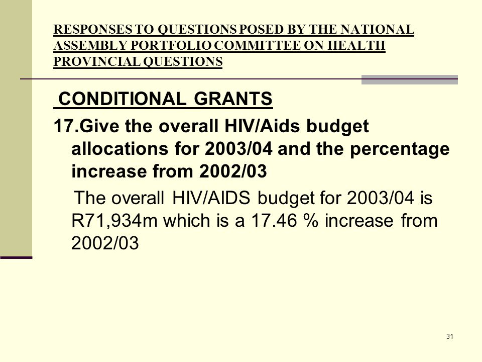 31 RESPONSES TO QUESTIONS POSED BY THE NATIONAL ASSEMBLY PORTFOLIO COMMITTEE ON HEALTH PROVINCIAL QUESTIONS CONDITIONAL GRANTS 17.Give the overall HIV/Aids budget allocations for 2003/04 and the percentage increase from 2002/03 The overall HIV/AIDS budget for 2003/04 is R71,934m which is a 17.46 % increase from 2002/03