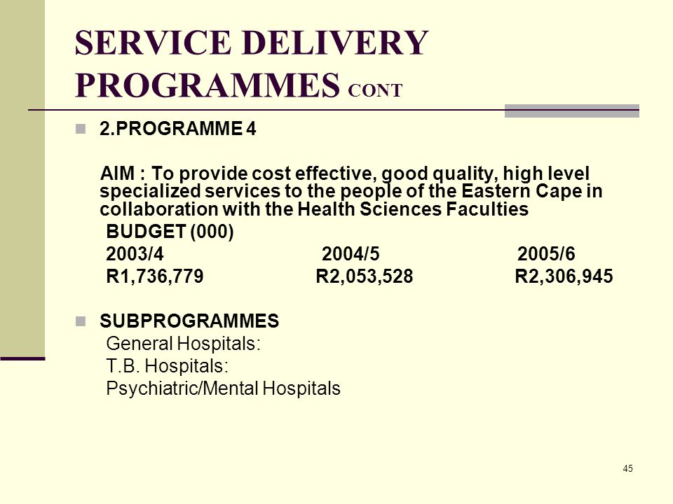45 SERVICE DELIVERY PROGRAMMES CONT 2.PROGRAMME 4 AIM : To provide cost effective, good quality, high level specialized services to the people of the Eastern Cape in collaboration with the Health Sciences Faculties BUDGET (000) 2003/4 2004/5 2005/6 R1,736,779 R2,053,528 R2,306,945 SUBPROGRAMMES General Hospitals: T.B.