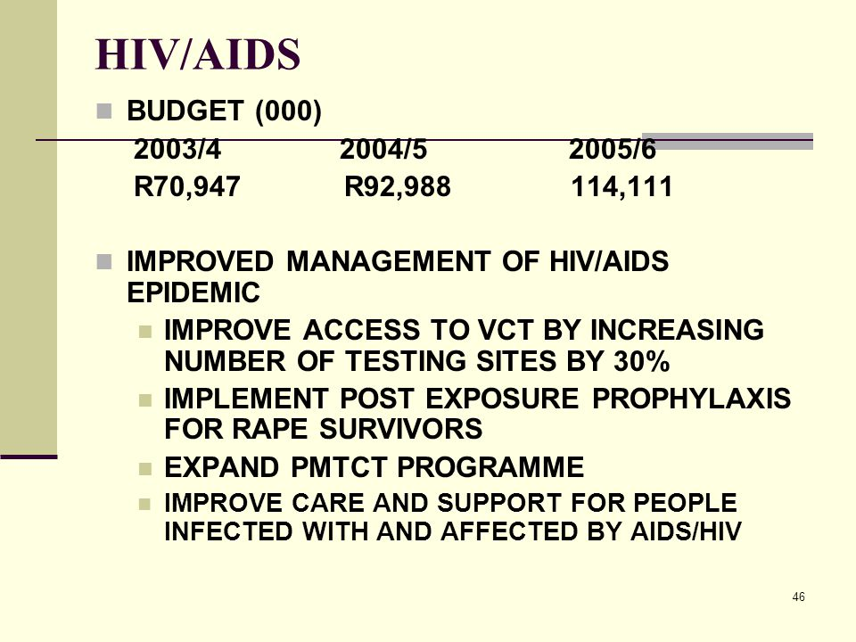 46 HIV/AIDS BUDGET (000) 2003/4 2004/5 2005/6 R70,947 R92,988 114,111 IMPROVED MANAGEMENT OF HIV/AIDS EPIDEMIC IMPROVE ACCESS TO VCT BY INCREASING NUMBER OF TESTING SITES BY 30% IMPLEMENT POST EXPOSURE PROPHYLAXIS FOR RAPE SURVIVORS EXPAND PMTCT PROGRAMME IMPROVE CARE AND SUPPORT FOR PEOPLE INFECTED WITH AND AFFECTED BY AIDS/HIV