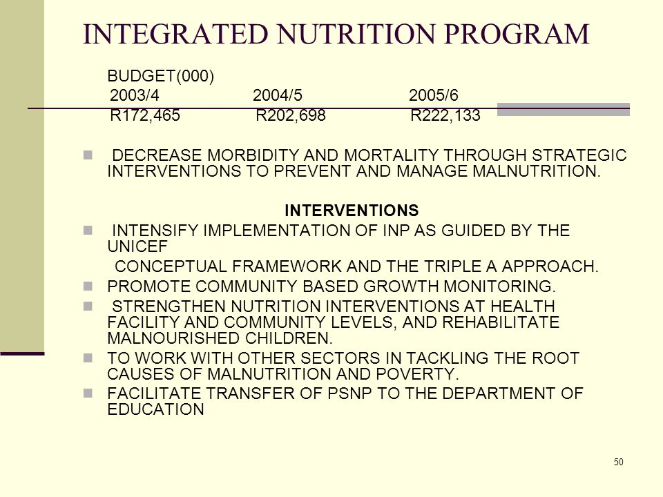 50 INTEGRATED NUTRITION PROGRAM BUDGET(000) 2003/4 2004/5 2005/6 R172,465 R202,698 R222,133 DECREASE MORBIDITY AND MORTALITY THROUGH STRATEGIC INTERVENTIONS TO PREVENT AND MANAGE MALNUTRITION.