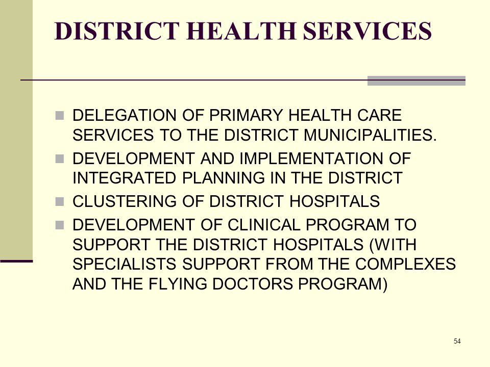 54 DISTRICT HEALTH SERVICES DELEGATION OF PRIMARY HEALTH CARE SERVICES TO THE DISTRICT MUNICIPALITIES.