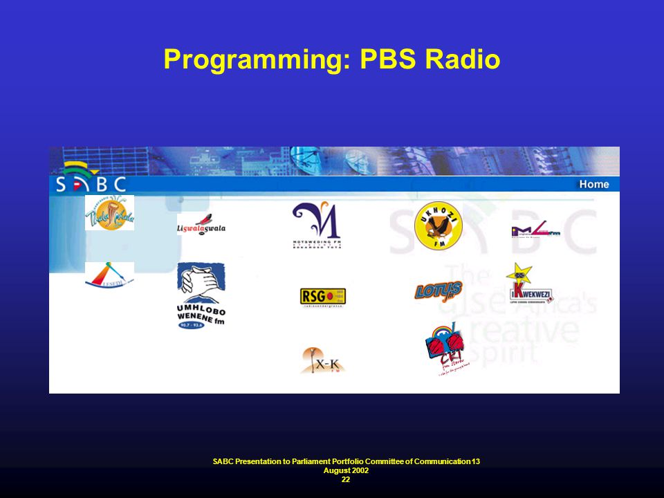 SABC Presentation to Parliament Portfolio Committee of Communication 13 August 2002 22 Programming: PBS Radio
