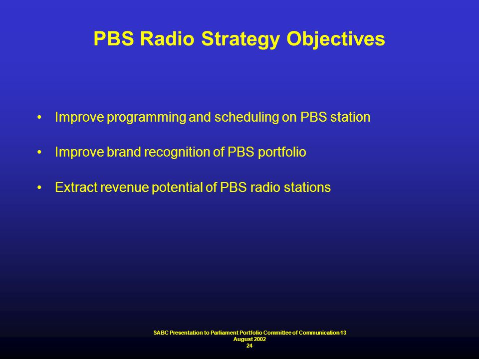 PBS Radio Strategy Objectives Improve programming and scheduling on PBS station Improve brand recognition of PBS portfolio Extract revenue potential o