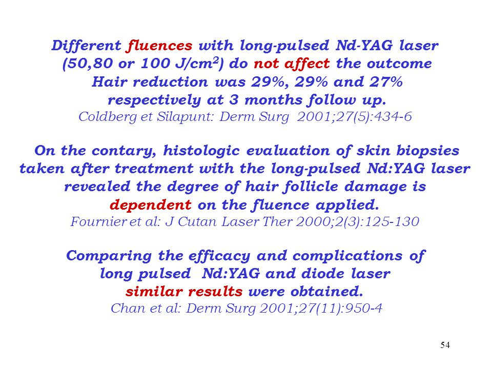 54 Different fluences with long-pulsed Nd-YAG laser (50,80 or 100 J/cm 2 ) do not affect the outcome Hair reduction was 29%, 29% and 27% respectively at 3 months follow up.