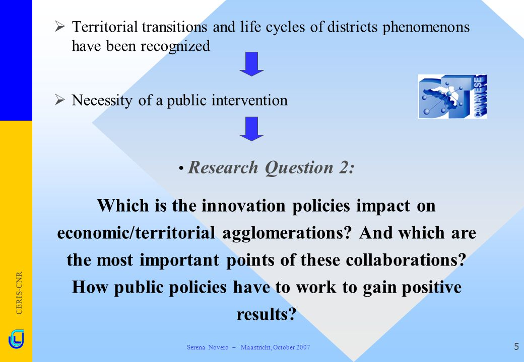 CERIS-CNR 5  Territorial transitions and life cycles of districts phenomenons have been recognized  Necessity of a public intervention Research Ques