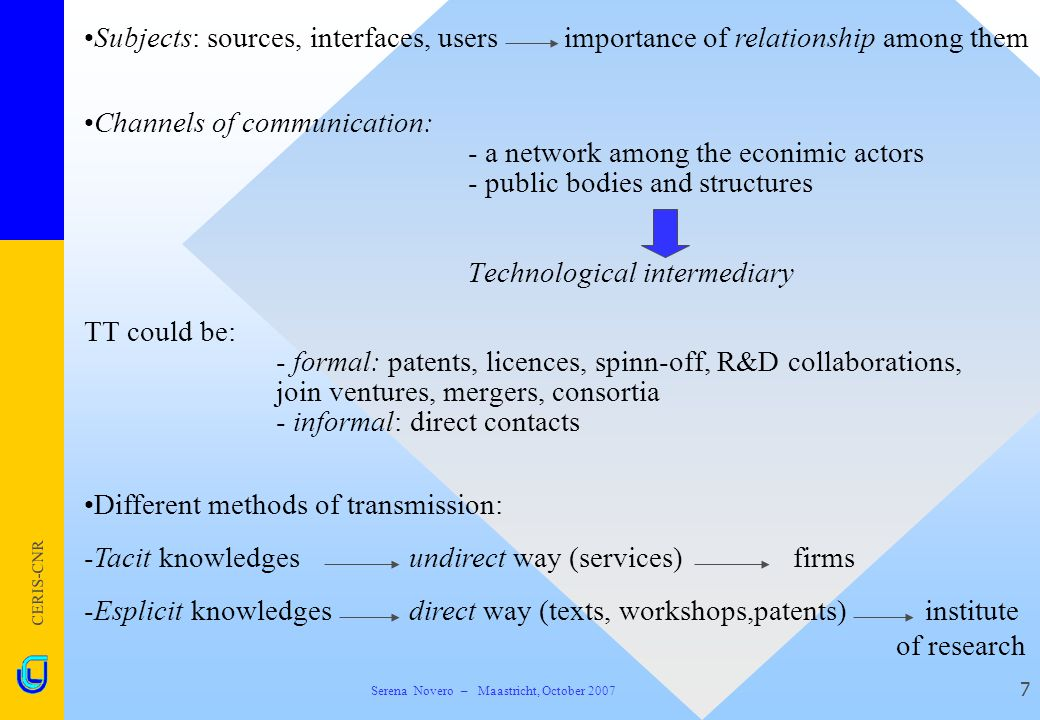 CERIS-CNR 7 Channels of communication: - a network among the econimic actors - public bodies and structures Technological intermediary TT could be: -
