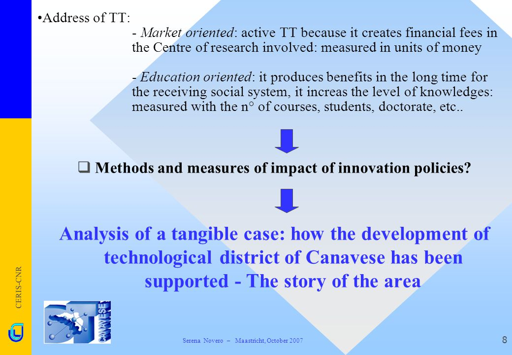 CERIS-CNR 8  Methods and measures of impact of innovation policies? Analysis of a tangible case: how the development of technological district of Can