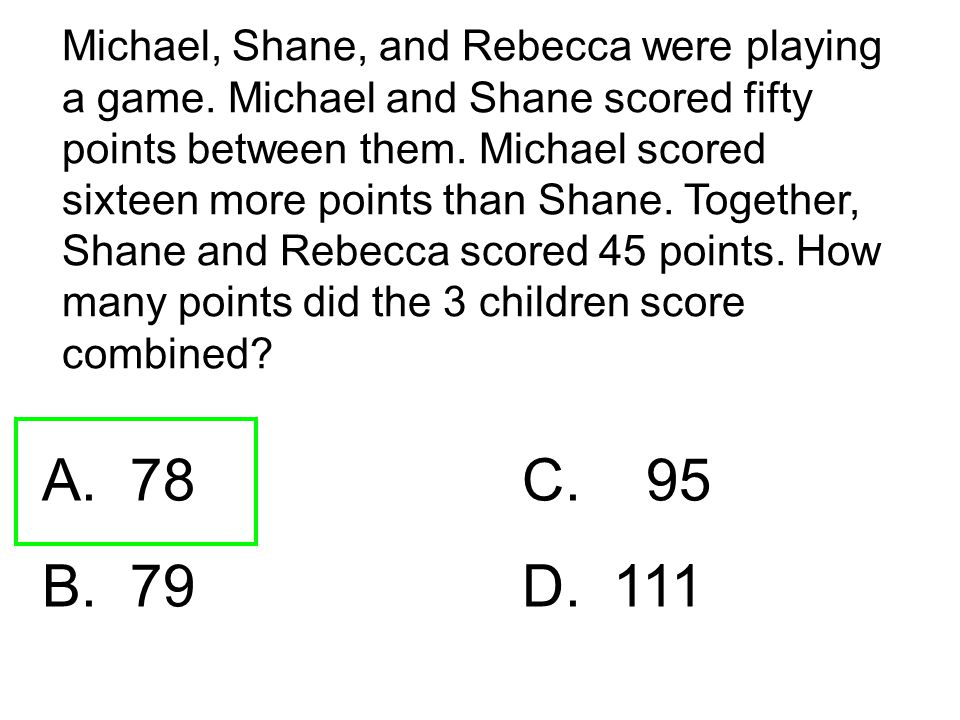 Michael, Shane, and Rebecca were playing a game. Michael and Shane scored fifty points between them. Michael scored sixteen more points than Shane. To