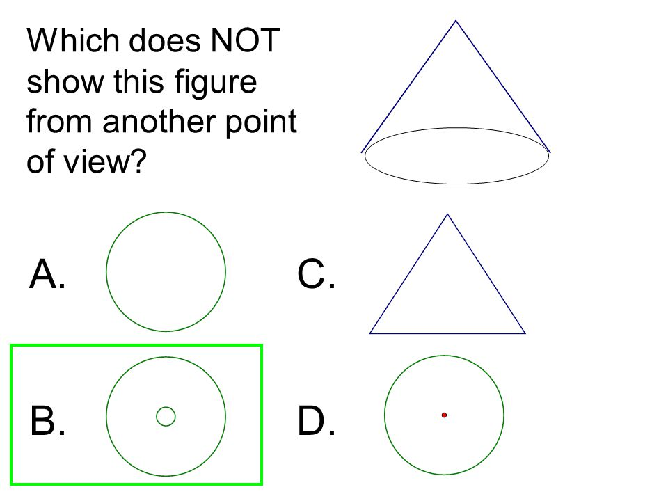 Which does NOT show this figure from another point of view? A. C. B. D.