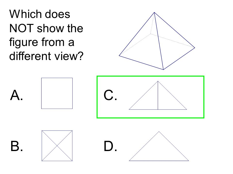 Which does NOT show the figure from a different view? A. C. B. D.