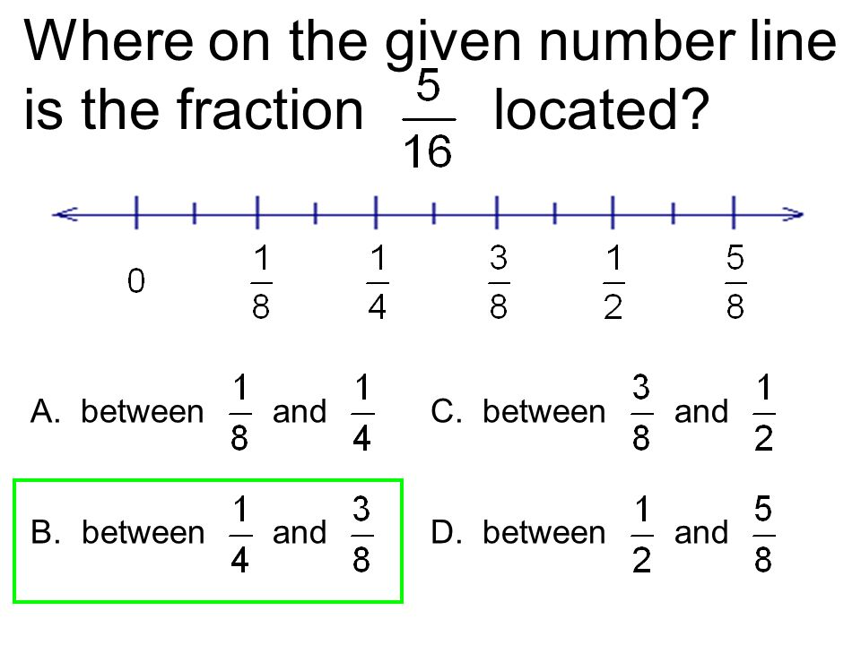 Where on the given number line is the fraction located? A. between and C. between and B. between and D. between and