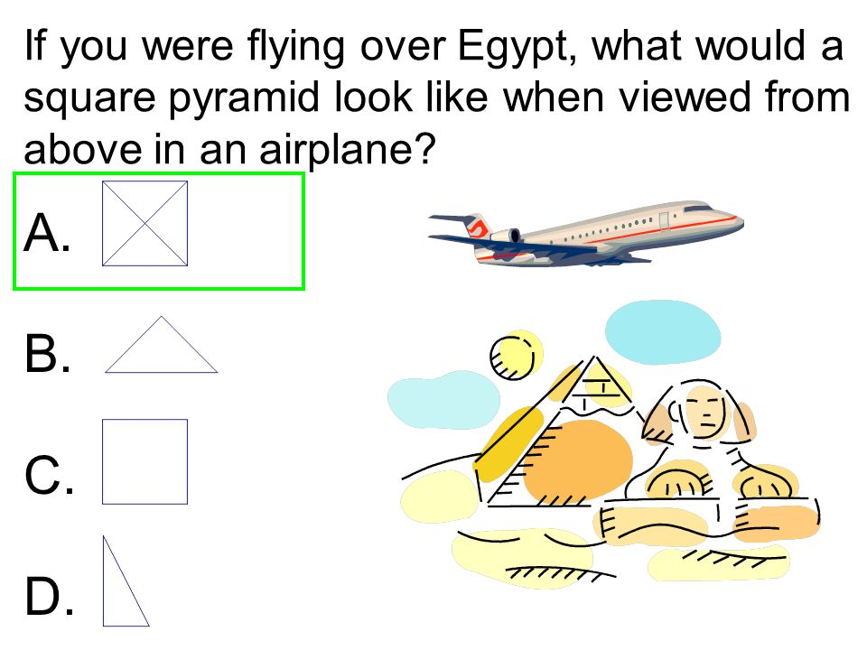 If you were flying over Egypt, what would a square pyramid look like when viewed from above in an airplane? A. B. C. D.