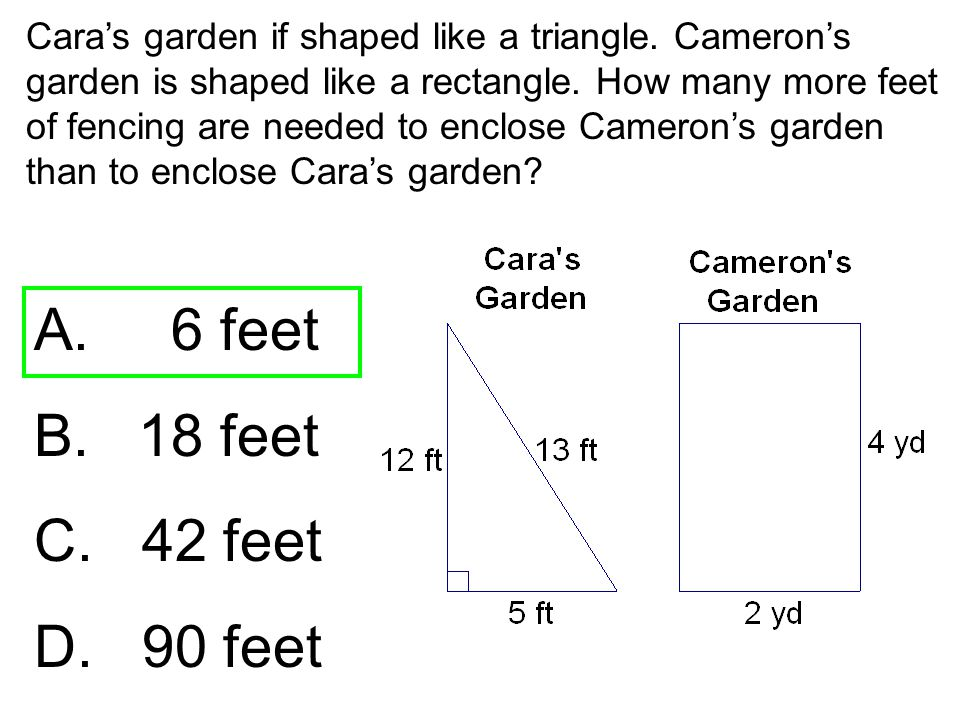 Cara's garden if shaped like a triangle. Cameron's garden is shaped like a rectangle. How many more feet of fencing are needed to enclose Cameron's ga
