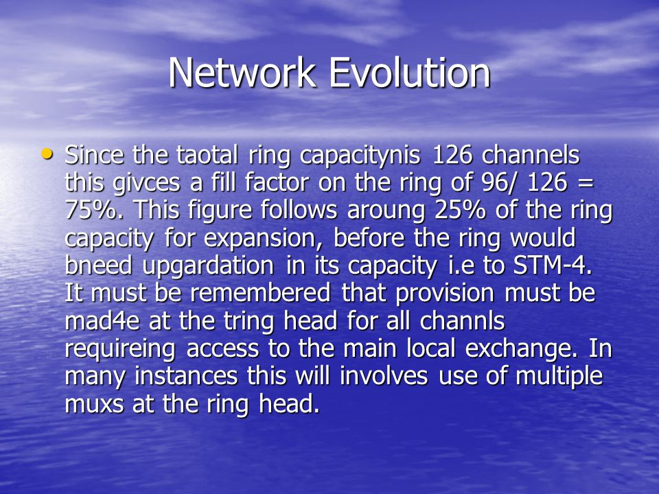 Network Evolution Since the taotal ring capacitynis 126 channels this givces a fill factor on the ring of 96/ 126 = 75%. This figure follows aroung 25