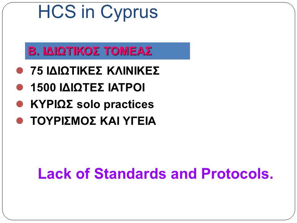 75 ΙΔΙΩΤΙΚΕΣ ΚΛΙΝΙΚΕΣ 1500 ΙΔΙΩΤΕΣ ΙΑΤΡΟΙ ΚΥΡΙΩΣ solo practices ΤΟΥΡΙΣΜΟΣ ΚΑΙ ΥΓΕΙΑ Lack of Standards and Protocols.