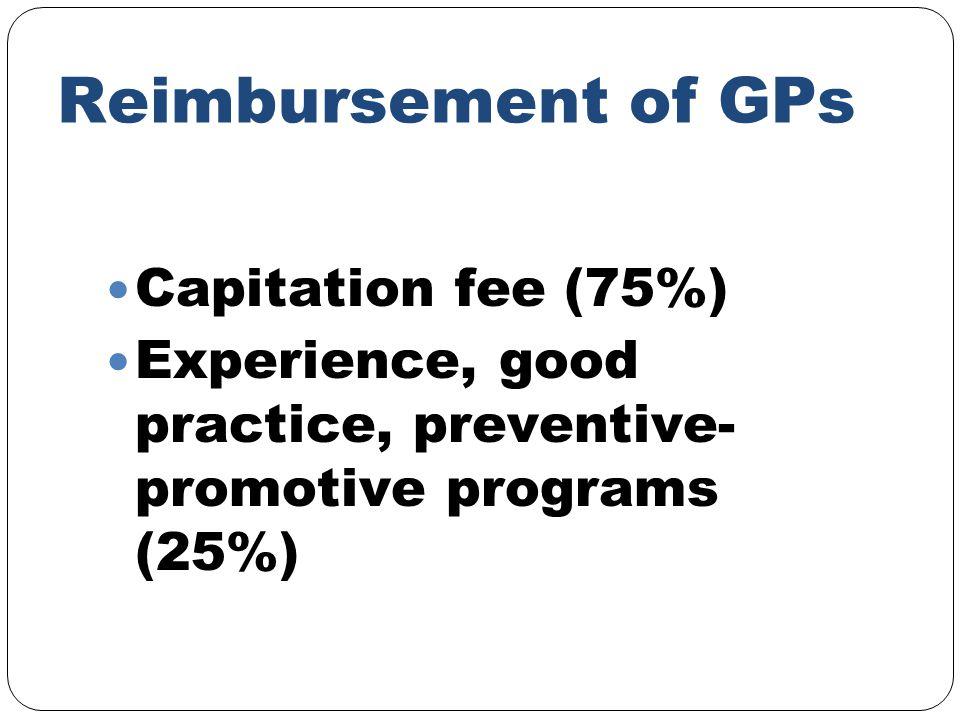 Reimbursement of GPs Capitation fee (75%) Experience, good practice, preventive- promotive programs (25%)