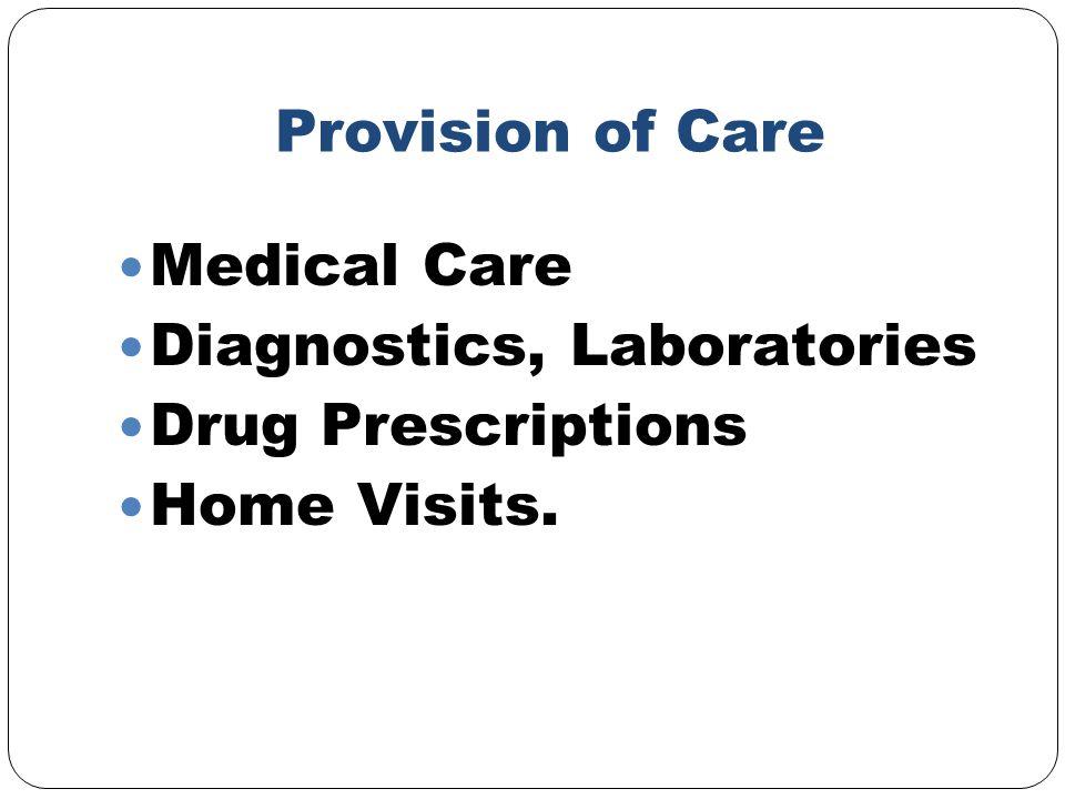 Provision of Care Medical Care Diagnostics, Laboratories Drug Prescriptions Home Visits.