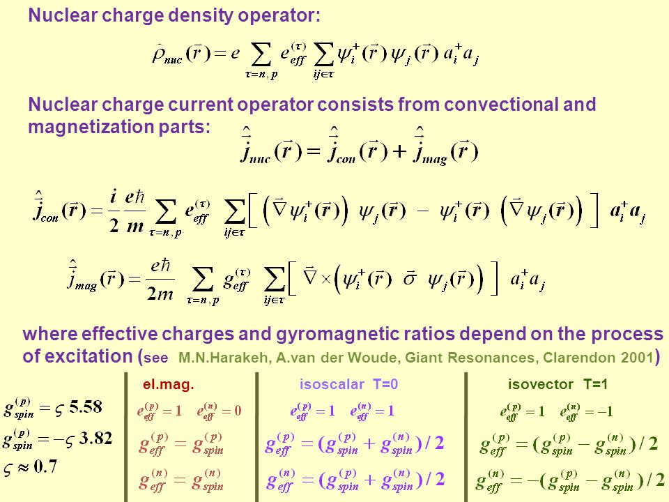 Nuclear charge density operator: Nuclear charge current operator consists from convectional and magnetization parts: where effective charges and gyrom