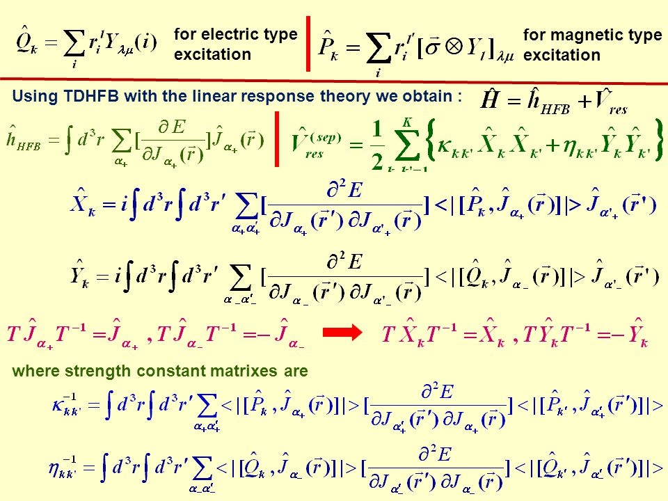 RPA equations: gives energies, forward and backward amplitudes of phonon operator RPA equations with the separable residual interactions can be transferred into the homogeneous system of algebraic equations.