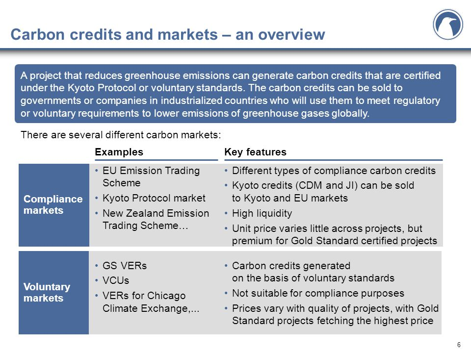 6 Carbon credits and markets – an overview There are several different carbon markets: A project that reduces greenhouse emissions can generate carbon credits that are certified under the Kyoto Protocol or voluntary standards.
